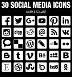 Raccolta sociale quadrata delle icone di media pianamente in bianco e nero con gli angoli arrotondati royalty illustrazione gratis