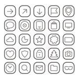 Raccolta sottile moderna delle icone di web Fotografia Stock