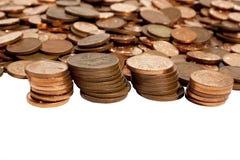 Raccolta sparsa ed impilata delle monete sudafricane Fotografia Stock