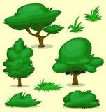 Raccolta stabilita del modello dell'erba del cespuglio dell'albero di verde del fumetto di vettore royalty illustrazione gratis