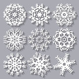 Raccolta stabilita dell'icona piana dei fiocchi di neve Immagine Stock Libera da Diritti