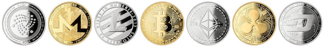 Raccolta stabilita della moneta cripto di valuta immagini stock libere da diritti