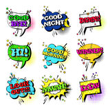 Raccolta stabilita delle icone di Art Style Sound Expression Text di schiocco di discorso della bolla comica di chiacchierata illustrazione vettoriale