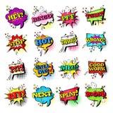 Raccolta stabilita delle icone di Art Style Sound Expression Text di schiocco di discorso della bolla comica di chiacchierata royalty illustrazione gratis