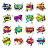 Raccolta stabilita delle icone di Art Style Sound Expression Text di schiocco di discorso della bolla comica di chiacchierata Fotografia Stock