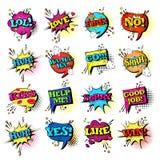 Raccolta stabilita delle icone di Art Style Sound Expression Text di schiocco di discorso della bolla comica di chiacchierata illustrazione di stock