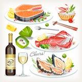 Raccolta stabilita di celebrazione festiva di festa dei piatti cucinata alimento illustrazione di stock