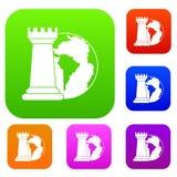 Raccolta stabilita di colore del pianeta del mondo e del corvo di scacchi Fotografia Stock Libera da Diritti