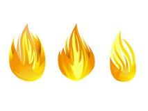 Raccolta stabilita di simbolo di progettazione dell'illustrazione di vettore dell'icona del fuoco Fotografia Stock