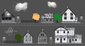 Raccolta sveglia assortita delle case Couds, bicicletta, strada Fotografia Stock