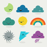 Raccolta sveglia dei caratteri di emojis del tempo royalty illustrazione gratis