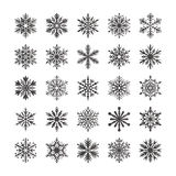Raccolta sveglia del fiocco di neve isolata su fondo bianco Le icone piane della neve, neve si sfalda siluetta Fiocchi di neve pi Immagine Stock