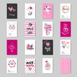 Raccolta sveglia della cartolina di amore di schizzo di progettazione di Valentine Day Greeting Cards Set Fotografie Stock Libere da Diritti
