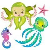 Raccolta sveglia delle creature del mare Fotografie Stock