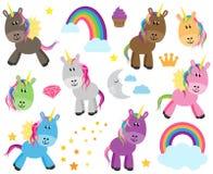 Raccolta sveglia di vettore degli unicorni o dei cavalli Fotografia Stock
