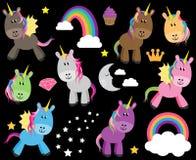 Raccolta sveglia di vettore degli unicorni o dei cavalli Immagine Stock Libera da Diritti