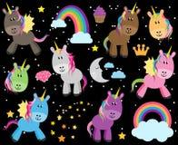 Raccolta sveglia di vettore degli unicorni o dei cavalli Fotografie Stock