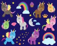 Raccolta sveglia di vettore degli unicorni o dei cavalli Fotografia Stock Libera da Diritti