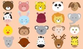 Raccolta sveglia di vettore delle icone dei fronti degli animali Fotografie Stock Libere da Diritti