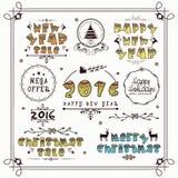 Raccolta tipografica per il Natale ed il nuovo anno Fotografia Stock Libera da Diritti