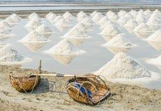 Raccolta tradizionale del sale marino Fotografia Stock Libera da Diritti