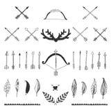 Raccolta tribale disegnata a mano con l'arco e le frecce Immagine Stock