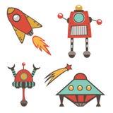 Raccolta variopinta degli autoadesivi dello spazio cosmico royalty illustrazione gratis