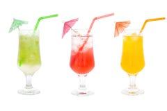 Raccolta variopinta dei cocktail del succo Fotografia Stock