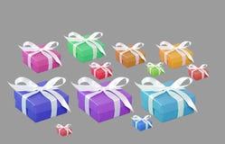 Raccolta variopinta dei contenitori di regalo Fotografia Stock