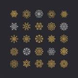 Raccolta variopinta dei fiocchi di neve isolata su fondo nero royalty illustrazione gratis