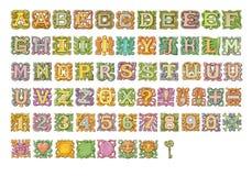 Raccolta variopinta della pittura di alfabeto di fiaba Isolato su bianco Fotografie Stock