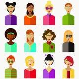Raccolta variopinta piana dell'avatar delle donne Fotografia Stock Libera da Diritti