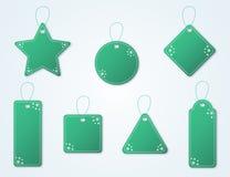 Raccolta verde dell'etichetta di natale con i fiocchi di neve ed i ganci Illustrazioni di promozione di vendita e della carta di  Royalty Illustrazione gratis