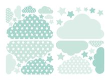 Raccolta verde pastello di vettore delle stelle e delle nuvole con le stelle per i bambini Pacchetto di calcolo della decorazione illustrazione vettoriale
