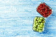 Raccolto delle bacche di estate - ribes rosso ed uva spina in gla Immagini Stock Libere da Diritti