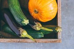 Raccolto di autunno in una scatola di legno Fotografia Stock Libera da Diritti