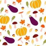 Raccolto papptern senza cuciture di autunno su bianco Immagine Stock