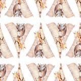 Raccon, cervi e coniglietto svegli del bambino della famiglia la giraffa animale della scuola materna e l'orso hanno isolato l'il Fotografia Stock Libera da Diritti