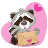 Raccon with envelope Royalty Free Stock Images