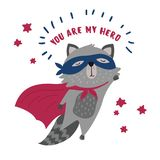 Raccon in superhero mask and cloak.You are my hero. Cute raccoon in superhero costume. You are my hero text. Animal with extraordinary flying abilities wear mask Royalty Free Stock Image