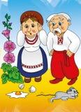 Racconto ucraino, nonna e nonno nel villaggio Fotografie Stock Libere da Diritti