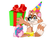 Raccoon. The animated cheerful raccoon sits in a colour cap. In paws he holds a gift box with a ribbon and knot Royalty Free Stock Photography