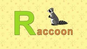 raccoon Alfabeto inglés del PARQUE ZOOLÓGICO - letra R ilustración del vector