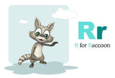 Raccoon with alphabet. 3d rendered illustration of Raccoon with alphabet stock illustration