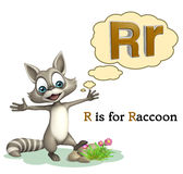 Raccoon with alphabet. 3d rendered illustration of Raccoon with alphabet Stock Image