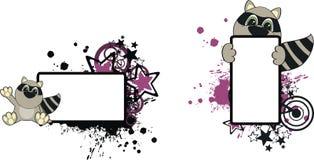 Raccoon baby cartoon copyspace Stock Images