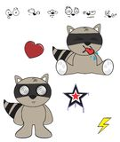 Raccoon baby cartoon expression set Stock Images