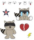Raccoon baby cartoon expression set2 Royalty Free Stock Photos