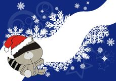 Raccoon baby cartoon xmas background. In vector format very easy to edit vector illustration
