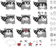 Raccoon ball cartoon set Royalty Free Stock Photos